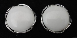 Vtg LISNER White Cabochon Clip Earrings Silvertone Swoop Setting Elegant FR SHP - $14.79