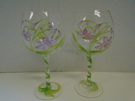 Pair 2 Two Floral Flowers Purple Green Balloon Red Wine Glasses Hand Pai... - $44.60