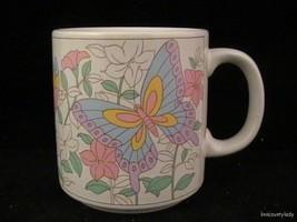 Vintage Lefton 1986 Mug Hand Painted Butterfly Floral Geo Z Lefton 05832 FR SHP - $19.74
