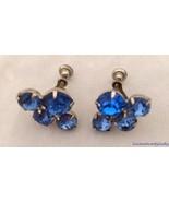 Vtg Rhinestone Earrings Royal and Medium Blue Prongset Screw Back Nice F... - $19.74