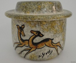 Deer Ceramic Candle Warmer Trinket Man Cave Signed York or Yock Decor Ma... - $24.69