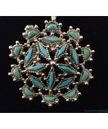 Faux Turquoise Filigree Beaded Openwork Flower Pendant Necklace Silverto... - $19.74