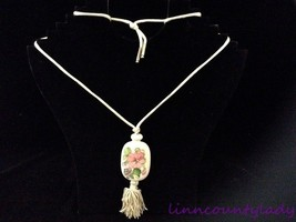 Vtg Hand Painted Brazil Floral Porcelain Bottle Look Necklace Satin Fringe FR SH - $12.81