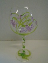 Floral Flowers Purple Green Balloon Red Wine Glasses Hand Painted Vine - $32.43