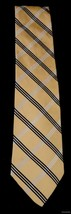 TOMMY HILFIGER Imported Silk Tie Yellow Navy White Diagonal Stripes FR SHP - $24.69