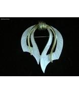 Vtg Signed JJ Ribbon Bow Brooch Pin Brushed Silver Goldtone Elegant FR SHP - $19.74