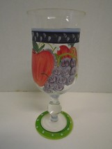 Hand Painted Apple Grapes Fruit Water Glass Base Green Red Purple Goblet... - $27.76