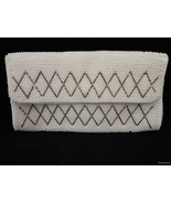 Vtg Faux Pearl Beaded Clutch Purse Bag Silver Bugle Bead Diamond Design ... - $29.64