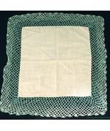 "Vtg Yellow Linen Hanky Handkerchief Wide Green Crochet Border 15"" Square... - $9.84"