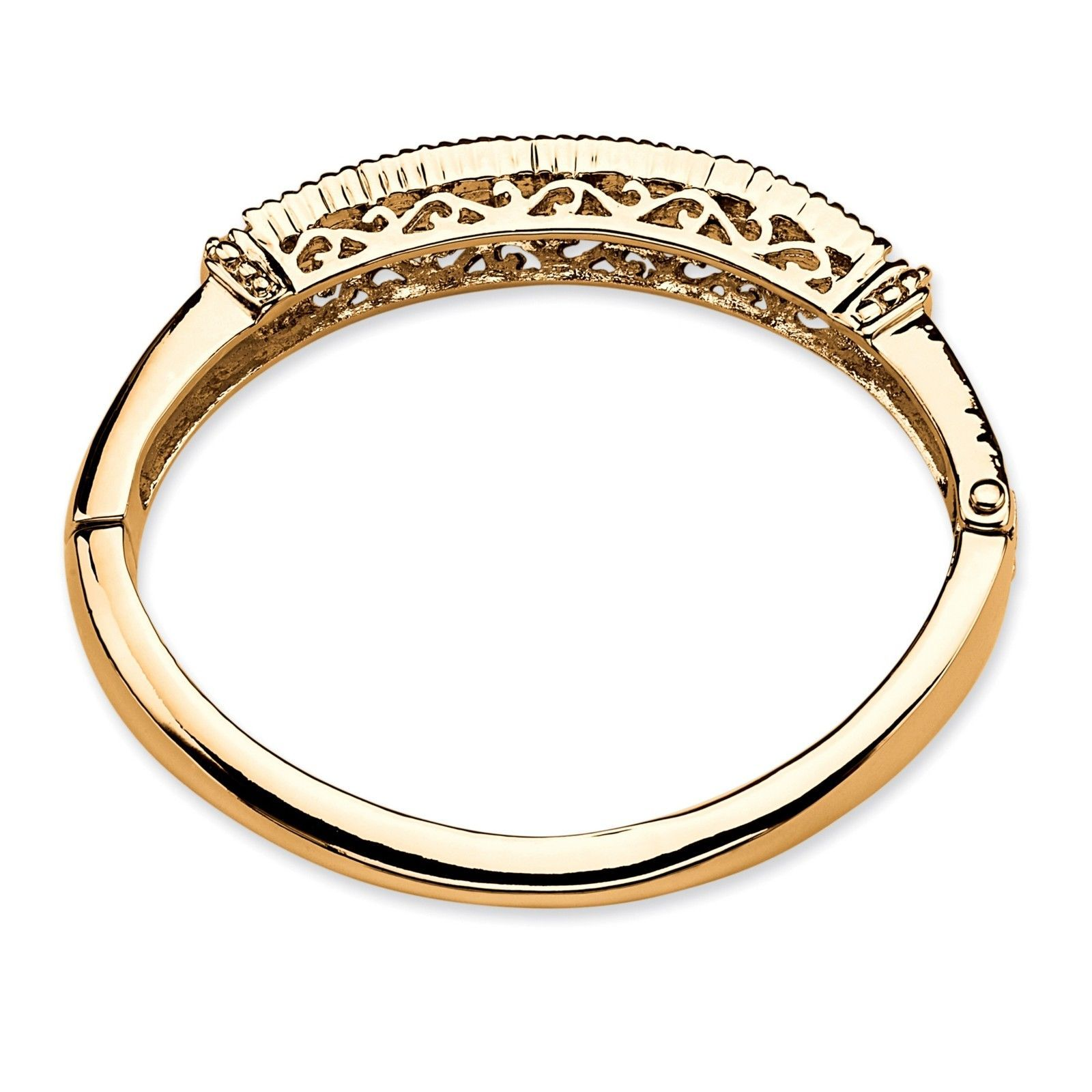 "PalmBeach Jewelry Simulated Purple Amethyst Crystal Gold Tone Bangle Bracelet 8"""