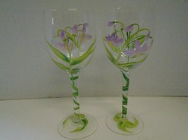 Pair Two 2 Floral Flowers Purple Green White Wine Glasses Hand Painted Vine - $43.67