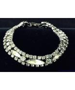 Vtg Clear Rhinestone Bracelet 3 Strand Navette & Faceted Prong Set RS 6.... - $14.79