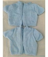 2 Vtg Handmade Knit Baby Infant Reborn Short Sleeve Blue Sweaters Twins ... - $19.74