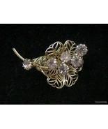 Vtg Brooch Lavender Pink Rhinestones Flower Spray Goldtone Filigree Pin ... - $19.74