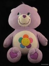 2004 Care Bear Huge 25 inch Plush HARMONY Purple Flower Tummy Pillow Sof... - $34.59
