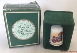 Vtg 1983 Night Before Christmas Thimble Porcelain 22k Gold Trim NIB Avon... - $9.84