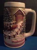 Budweiser Limited Edition Beer Stein Clydesdale Christmas Tree Lg Coffee... - $17.77