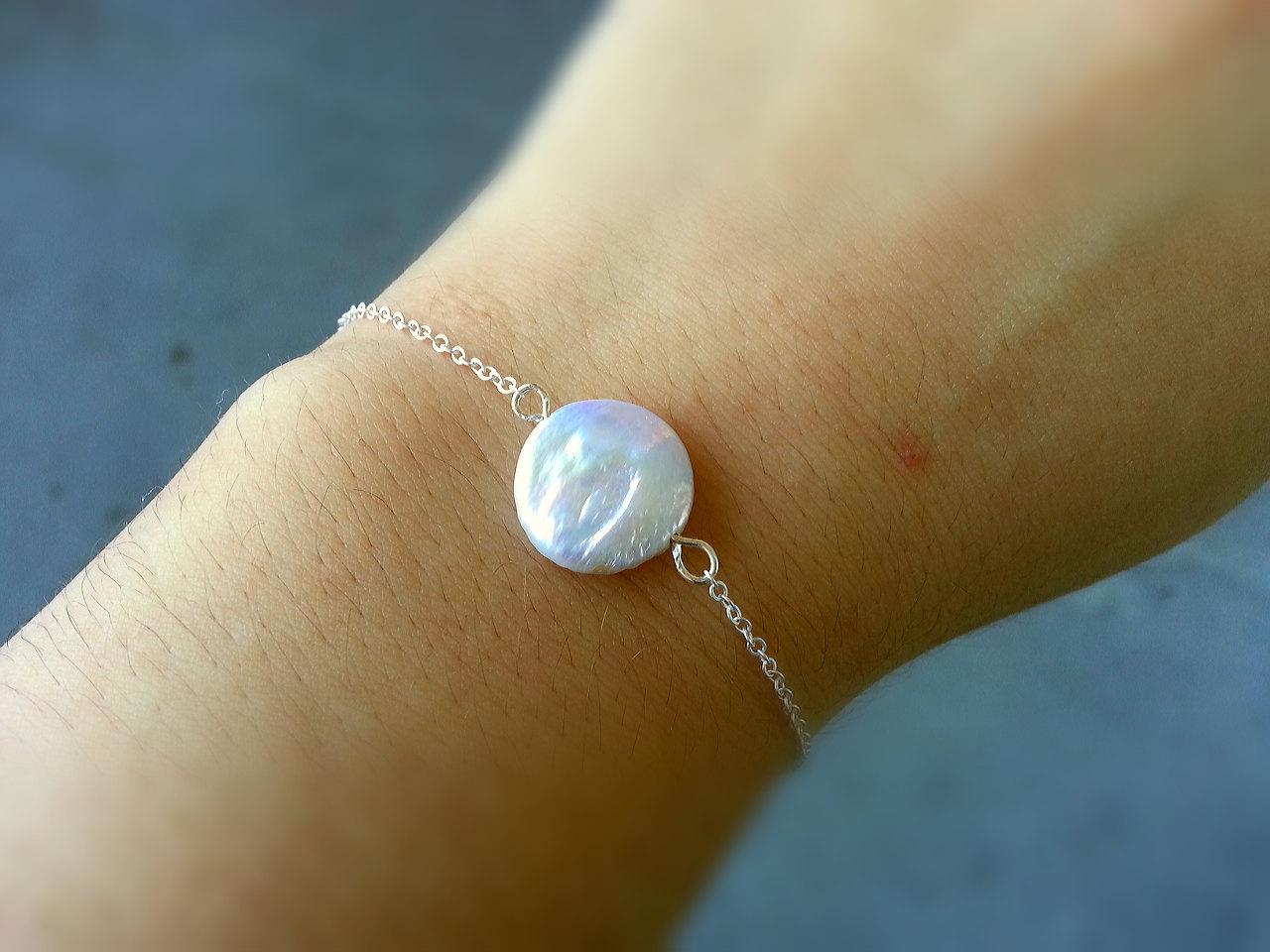 White coin pearl bracelet white freshwater coin p1