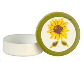 CLASSIC DOLLHOUSE MINIATURES ROUND TIN WITH SUNFLOWER DESIGN #IM65628 - $3.99