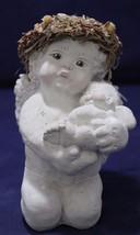 "Large Cast Art Dreamsicle Cherub Kneeling holding baby Kristin 6"" - $10.99"