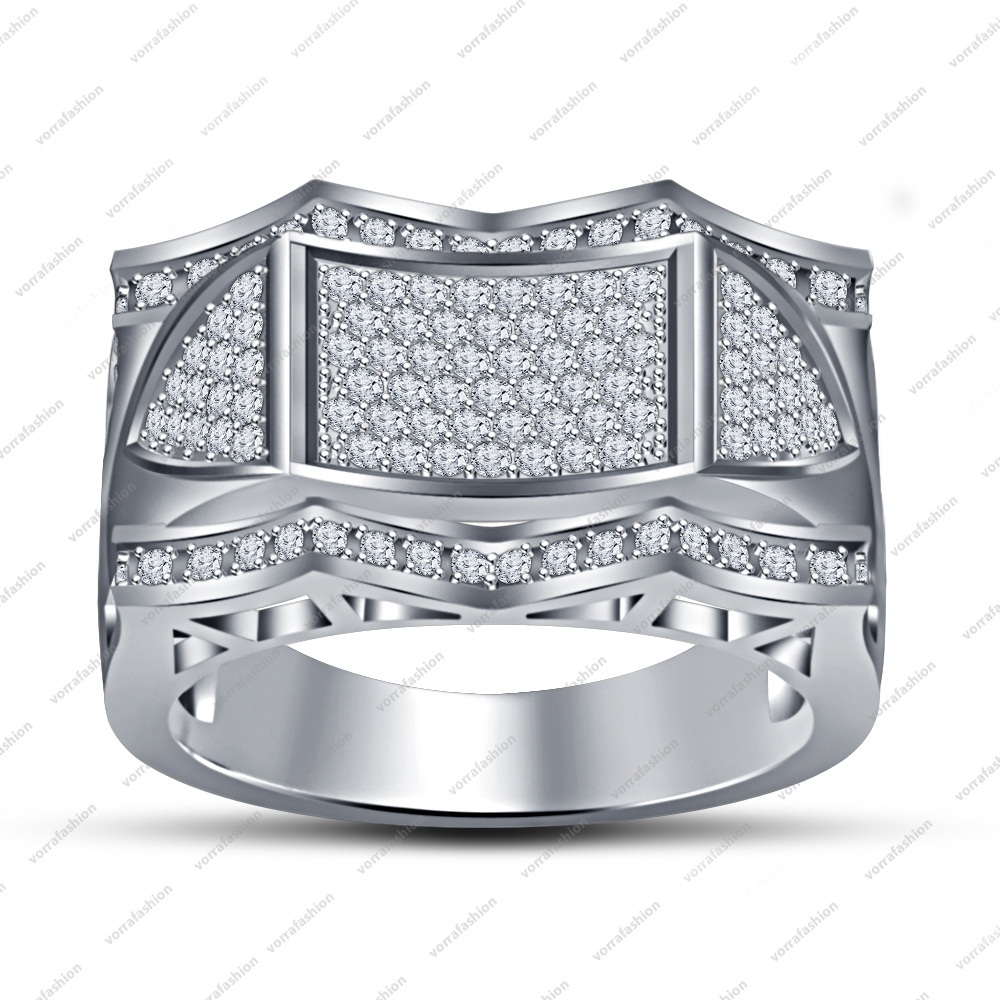 1.20CT 14k White Platinum Plated 925 Silver Unique Jewelry Men's Bridal Ring 7 8