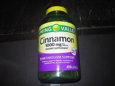 Spring Valley Cinnamon Dietary Supplement 400 Capsules 1000mg