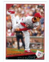 Cole Hamels 2009 Topps baseball card 2008 Philadelphia Phillies post sea... - $3.00