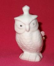 Vintage Owl White Ceramic Pin Cushion Applied Flowers Taiwan - $15.78