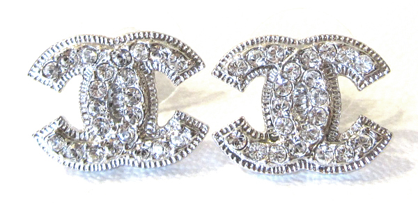 Authentic Chanel Classic Large CC Logo Crystal Baroque Stud Earrings Silver
