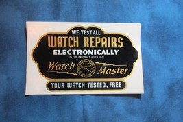 1940's Unused Watch Repair Shop Window Decal, Watch Master - $15.88