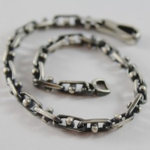 SOLID 925 BURNISHED SILVER OVAL MESH BRACELET VINTAGE STYLE MADE IN ITALY image 1
