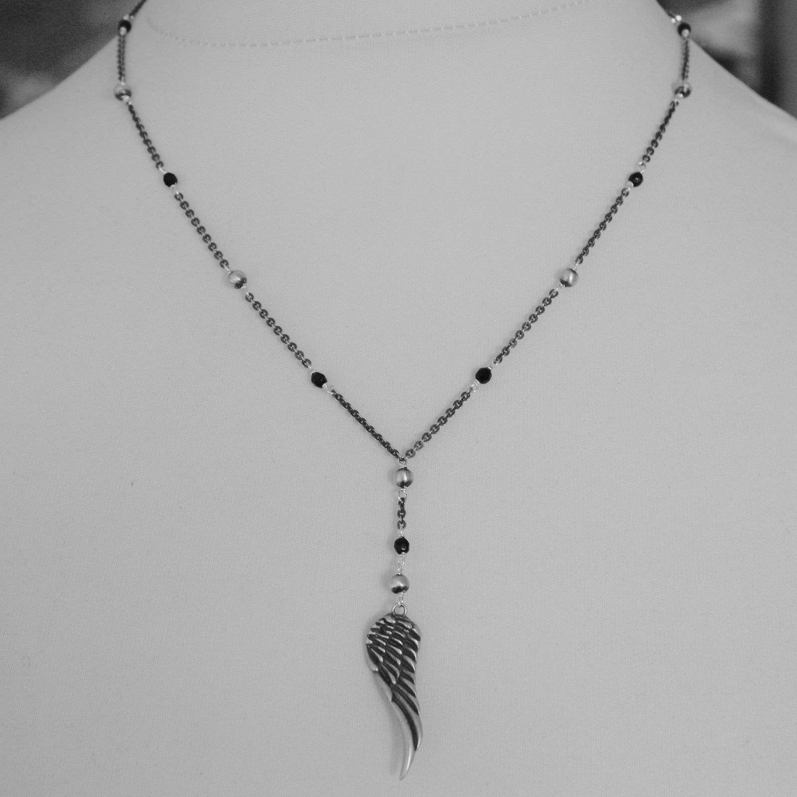 925 BURNISHED SILVER FEATHER WING BLACK NECKLACE WITH PENDANT MADE IN ITALY