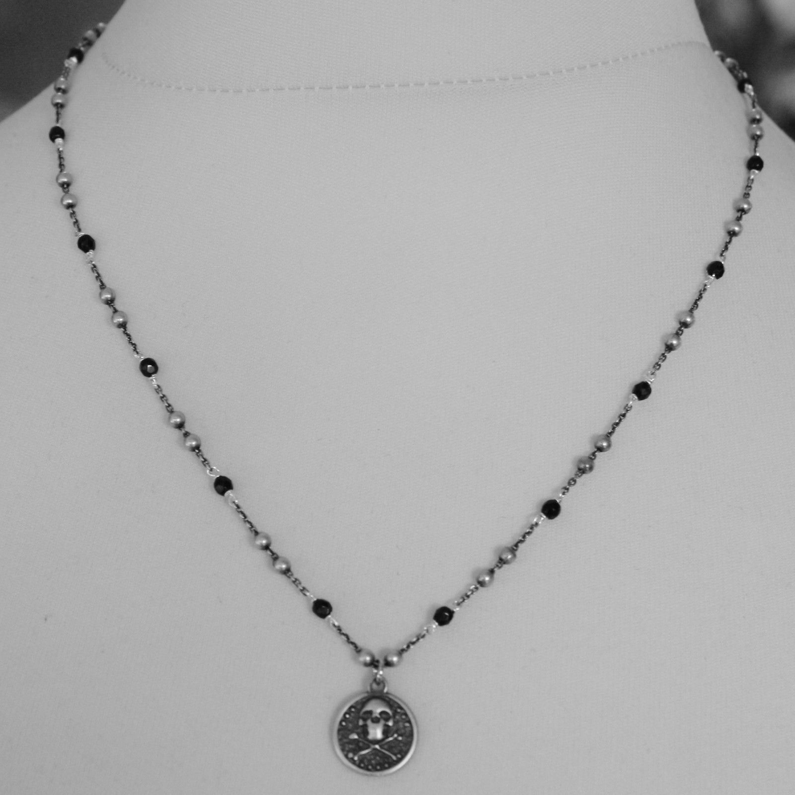 925 BURNISHED SILVER NECKLACE WITH PIRATES SKULL BONE DISC PENDANT MADE IN ITALY