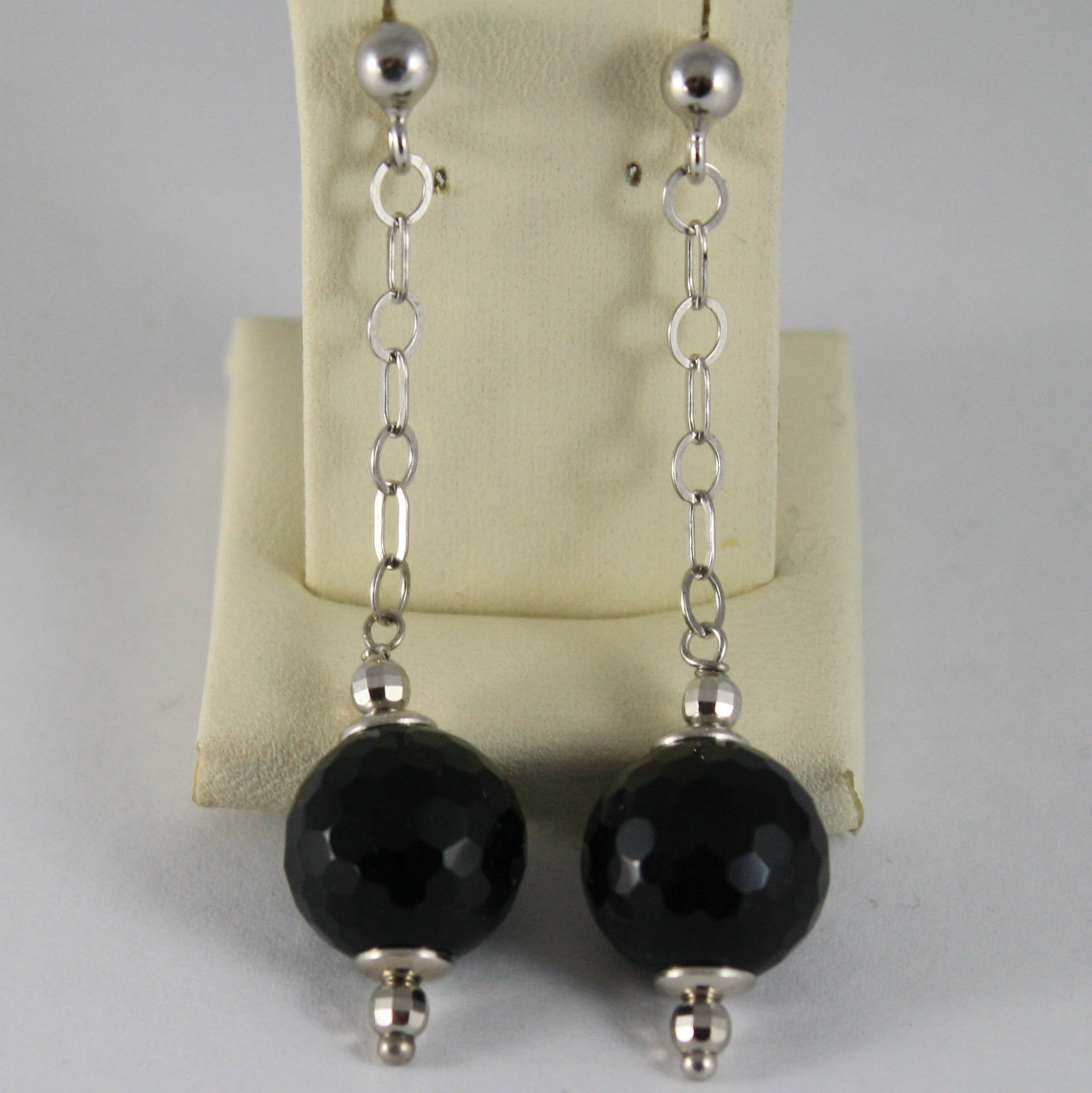 925 STERLING SILVER RHODIUM PENDANT EARRINGS WITH BLACK AND FACETED ONYX