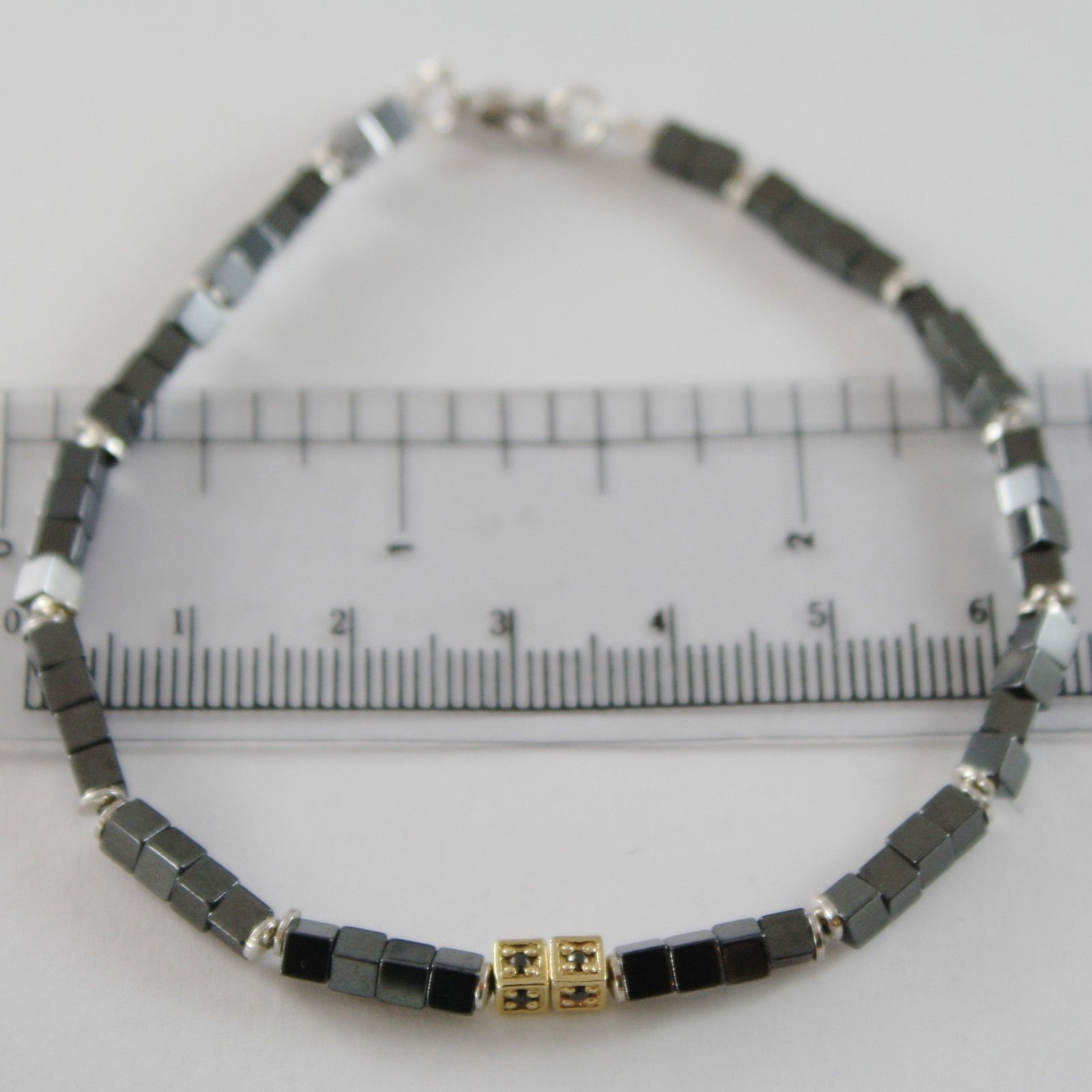 925 YELLOW SILVER BRACELET 8 BLACK DIAMONDS, CUBES SMOOTH HEMATITE MADE IN ITALY