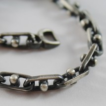 SOLID 925 BURNISHED SILVER OVAL MESH BRACELET VINTAGE STYLE MADE IN ITALY image 2