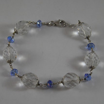 925. Rhodium Silver Bracelet With Blue And Transparent Cristals - $49.40