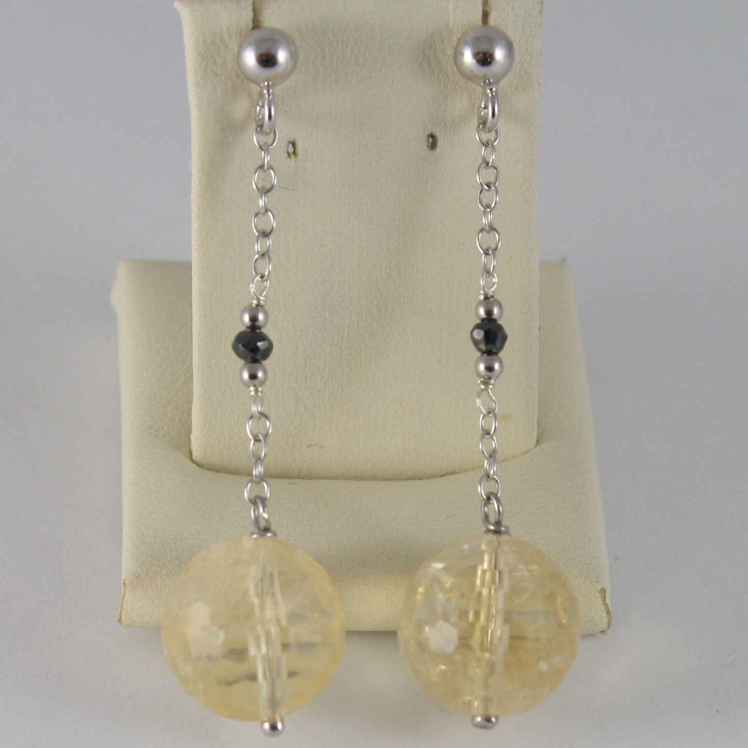 925 SILVER RHODIUM EARRINGS WITH BLACK DIAMONDS, CITRINE
