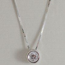 18K WHITE GOLD NECKLACE WITH DIAMOND 0.09 CARATS, VENETIAN CHAIN MADE IN ITALY