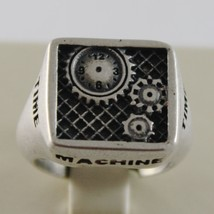 SOLID 925 BURNISHED SILVER BAND TIME MACHINE SQUARE RING, VINTAGE, MADE IN ITALY