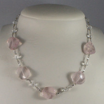 .925 SILVER RHODIUM NECKLACE WITH PINK AND TRANSPARENT CRISTALS 16,73 IN image 1