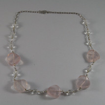 .925 SILVER RHODIUM NECKLACE WITH PINK AND TRANSPARENT CRISTALS 16,73 IN image 2