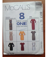 McCall's 8017 Sewing Pattern Dress Eight Great Looks 10-12-14 - $4.45