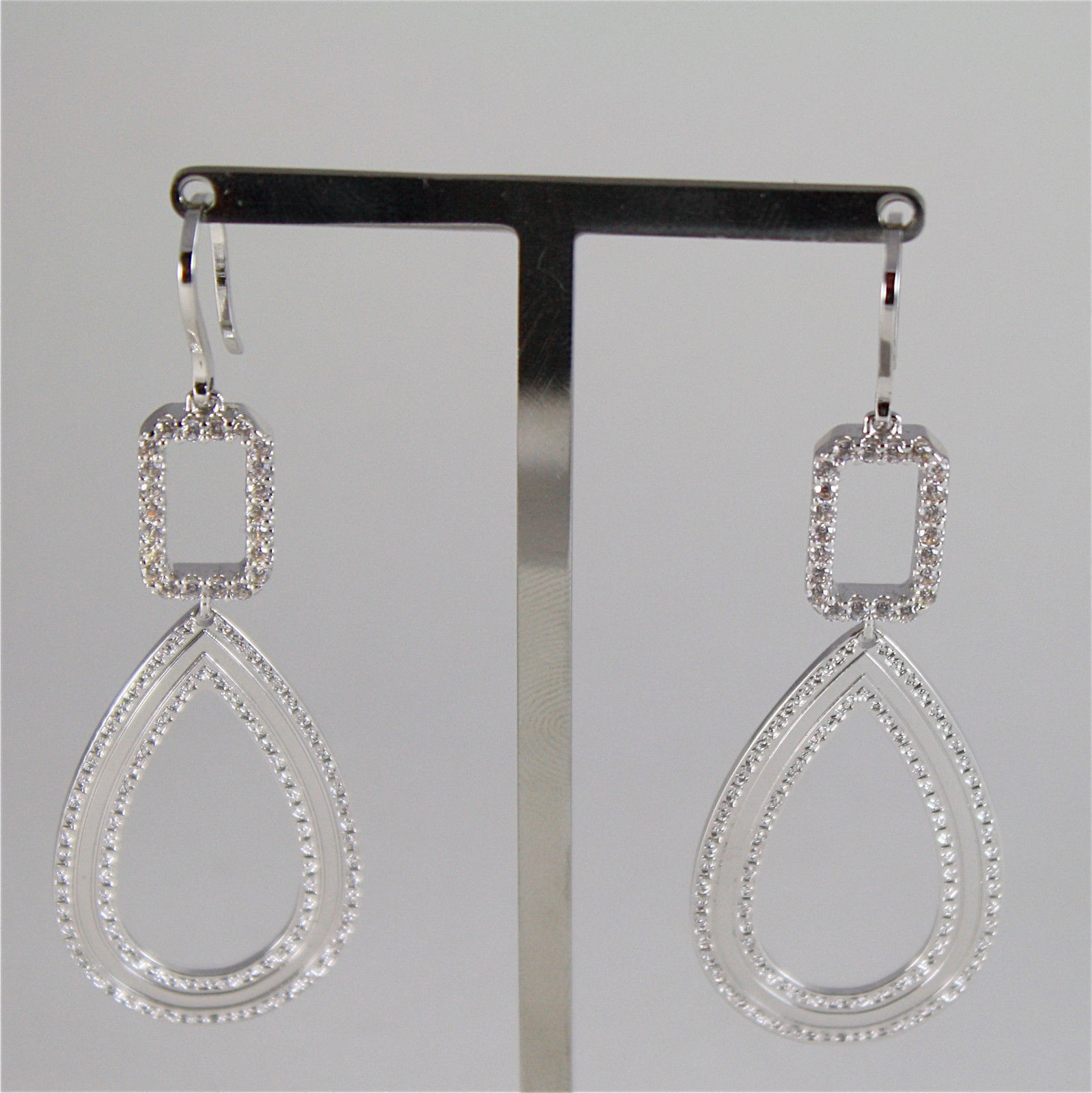 WHITE GOLD PLATED BRONZE REBECCA HOOK EARRINGS ELIZABETH BELOBB08 MADE IN ITALY
