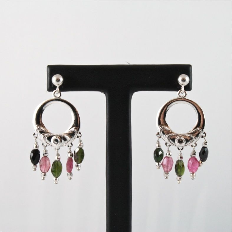 .925 RHODIUM SILVER CIRCLE EARRINGS WITH TOURMALINE