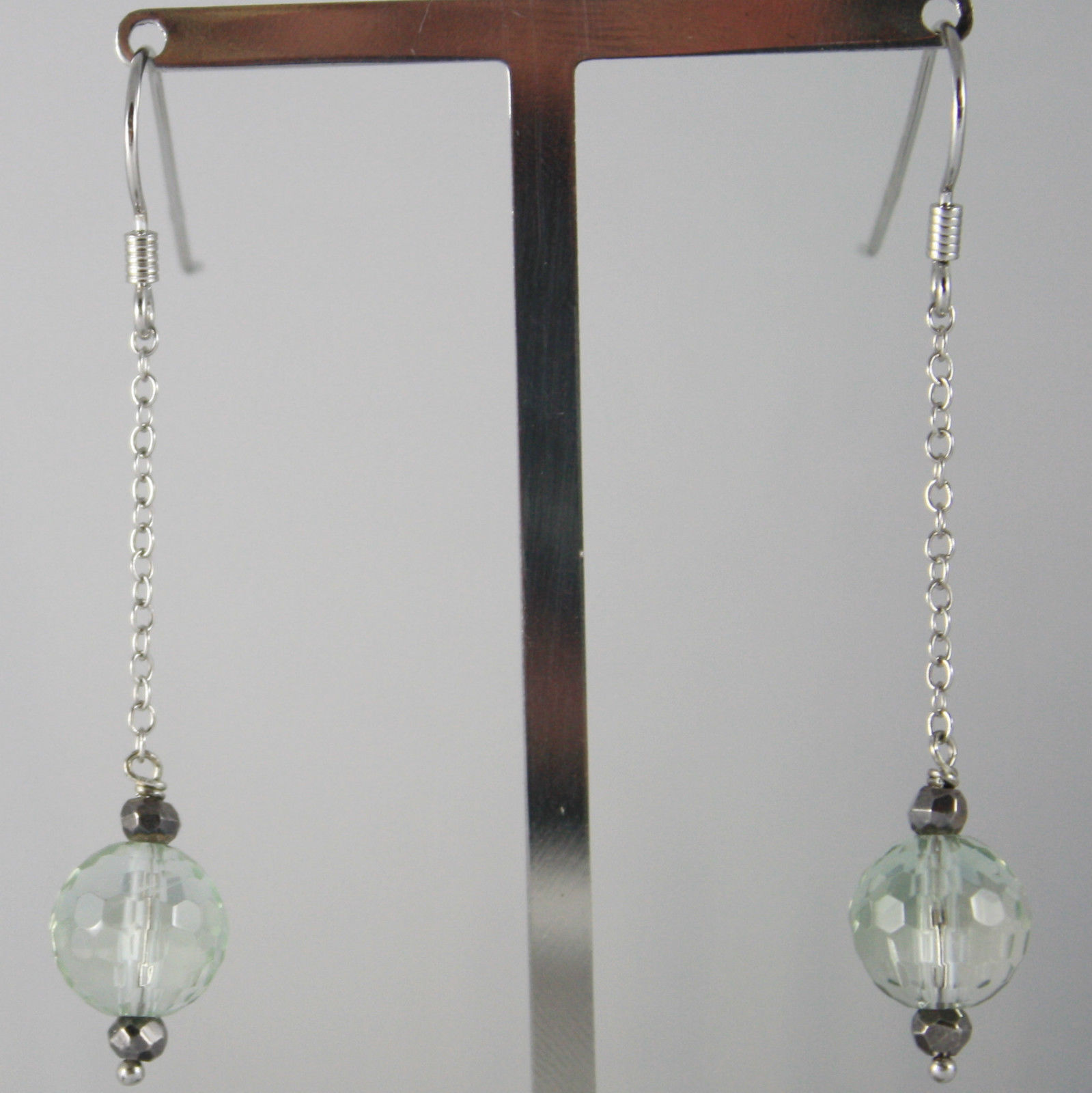 925 SILVER RHODIUM PENDANT EARRINGS, PRASIOLITE & PYRITE