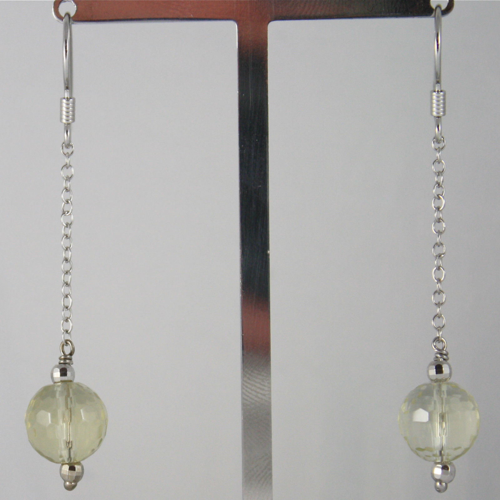 925 SILVER RHODIUM PENDANT EARRINGS, FACETED LEMON QUARTZ