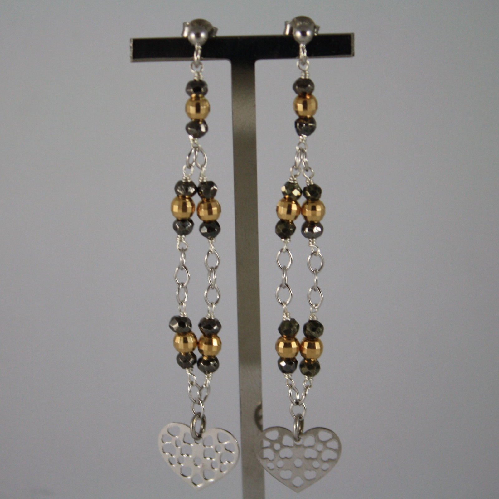 .925 RHODIUM SILVER EARRINGS WITH GOLDEN AND BURNISHED SPHERES AND HEART