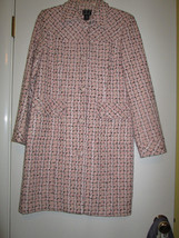 Macys INC International Concepts Pink Black Tweed Look Coat Size 8 Beautiful - $85.00