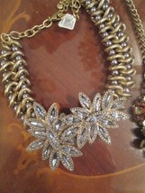 Rhinestone Encrusted Flower Silver Gold Color Heavy Necklace NWT Ann Taylor Loft - $40.00